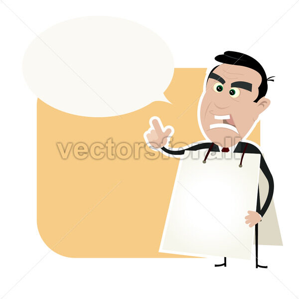 Angry White Business Man Holding A Sandwich Board - Vectorsforall
