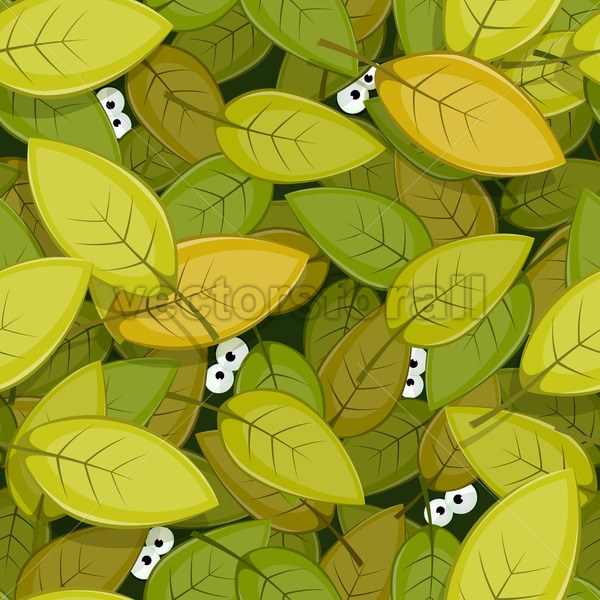 Animal Eyes Inside Green Leaves Seamless Background - Vectorsforall