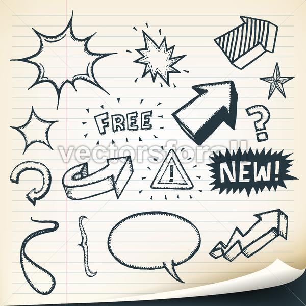 Arrows, Signs And Sketched Elements Set - Vectorsforall