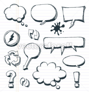 Arrows, Speech Bubbles And Doodle Elements Set - Vectorsforall