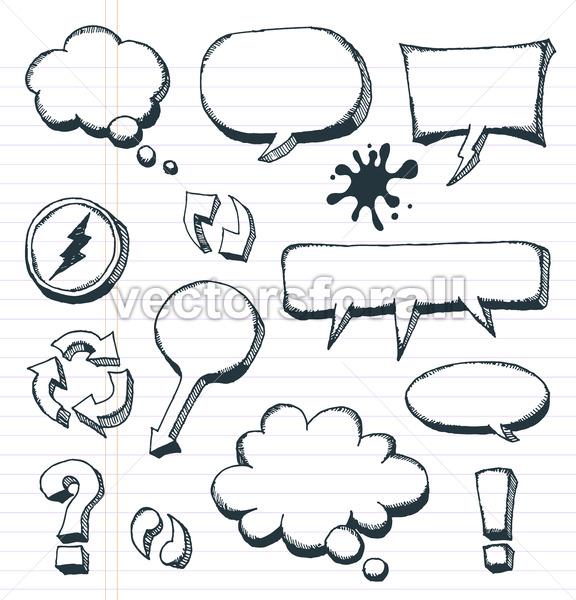 Arrows, Speech Bubbles And Doodle Elements Set - Vectorsforall