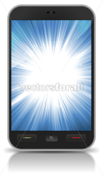 Awesome Background Star Burst Inside Smartphone - Vectorsforall