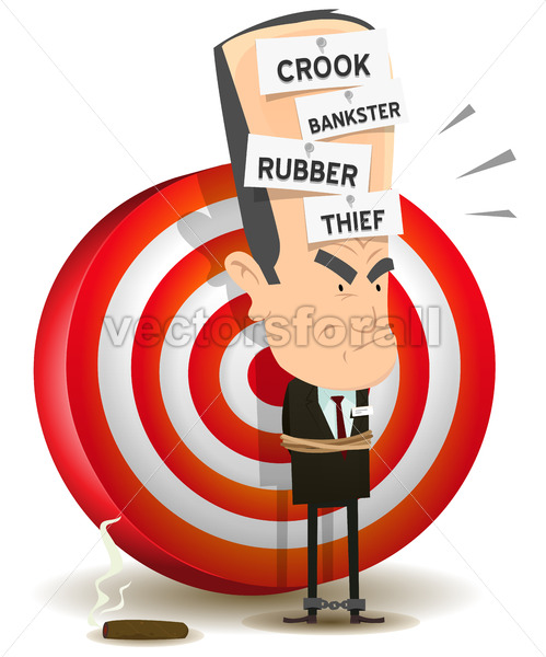 Bankster Punishment With Dartboard - Vectorsforall