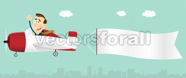 Banner Advertising Airplane - Vectorsforall
