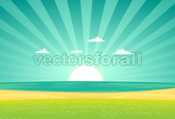 Beach Beyond The Fields - Vectorsforall