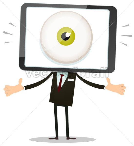 Big Brother Eye In Mobile Phone Head - Vectorsforall