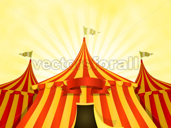 Big Top Circus Background With Banner - Vectorsforall