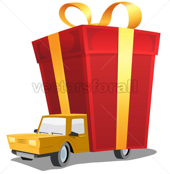 Birthday Gift On Delivery Truck - Vectorsforall