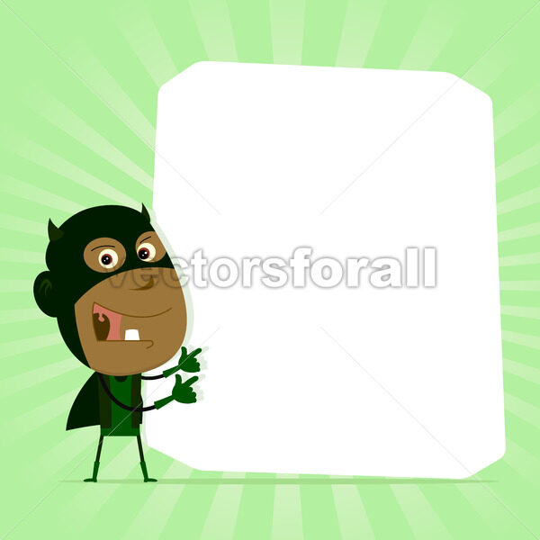 Black Kid Super Hero Sign - Vectorsforall