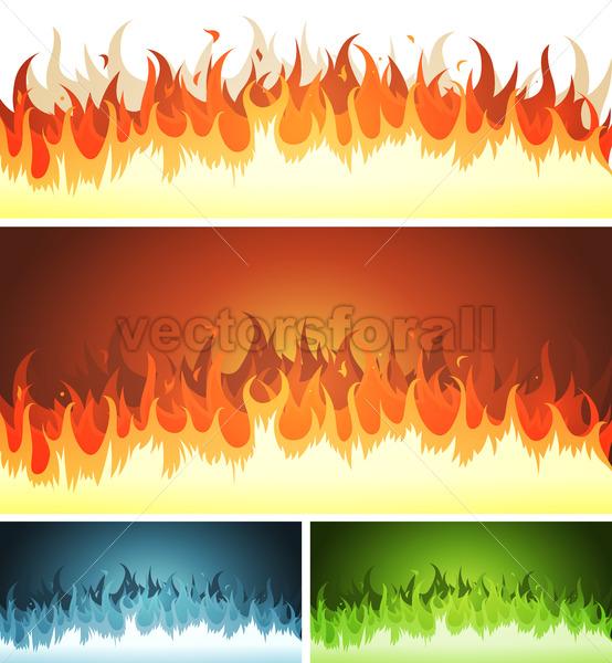 Blaze, Burning Fire And Flames Set - Vectorsforall