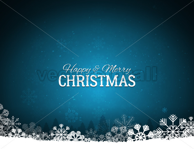 Blue Merry Christmas Background With Snowflakes - Vectorsforall