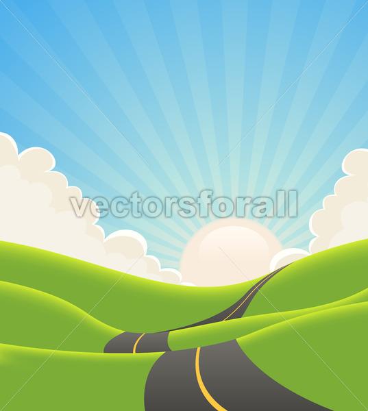 Blue Summer Landscape Road - Benchart's Shop