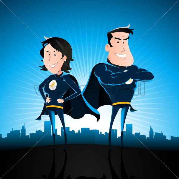 Blue Superhero Man And Woman - Vectorsforall