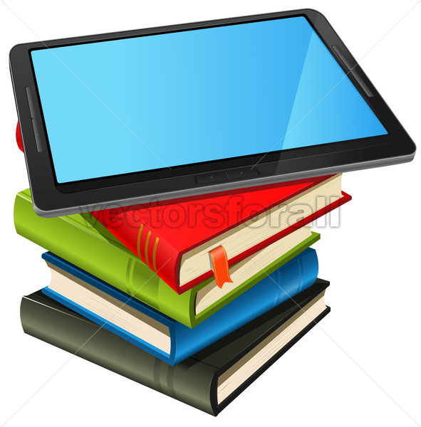 Book Stack And Blue Screen Tablet PC - Vectorsforall
