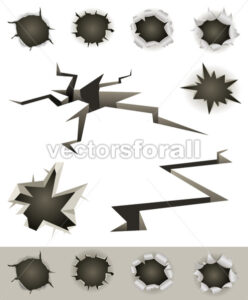 Bullet Holes, Cracks And Slashes Set - Vectorsforall