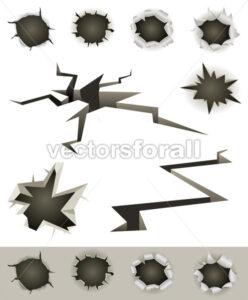 Bullet Holes, Cracks And Slashes Set - Vectorsforall