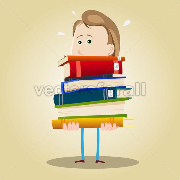 Busy Librarian Woman - Vectorsforall