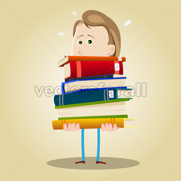 Busy Librarian Woman - Vectorsforall