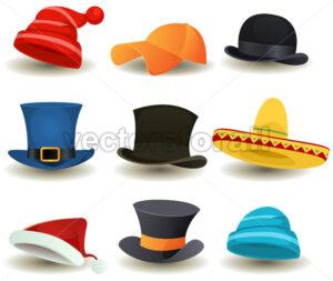 Caps, Hats And Caskets Set - Vectorsforall