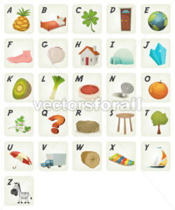 Cartoon ABC Cliparts Poster - Vectorsforall