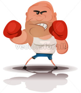 Cartoon Angry Boxer Champion - Vectorsforall
