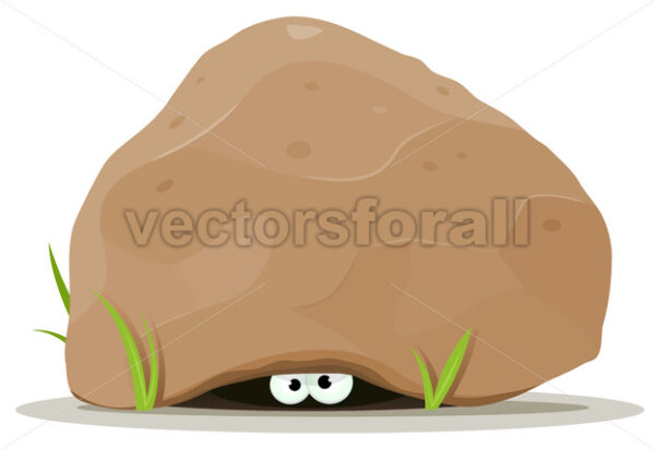 Cartoon Animal Eyes Under Big Stone - Vectorsforall