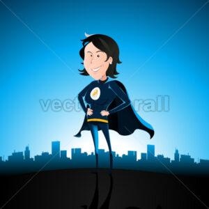 Cartoon Blue Super Lady - Benchart's Shop