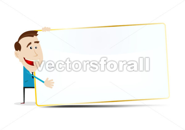 Cartoon Businessman Sign - Vectorsforall