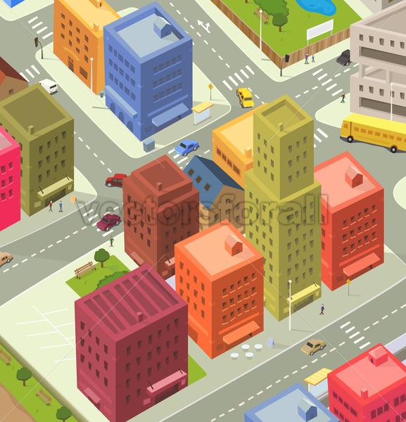 Cartoon City Aerial View - Benchart's Shop