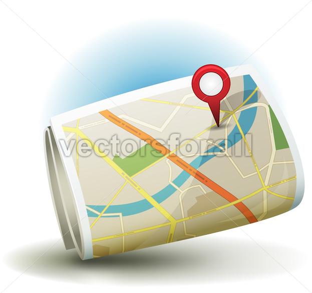 Cartoon City Map Icon With GPS Pin - Vectorsforall