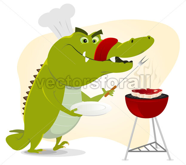 Cartoon Crocodile BBQ - Vectorsforall