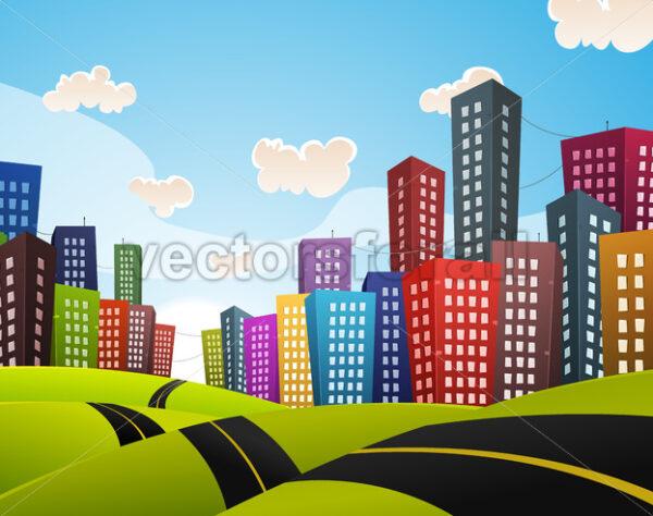 Cartoon Downtown Road Landscape - Vectorsforall