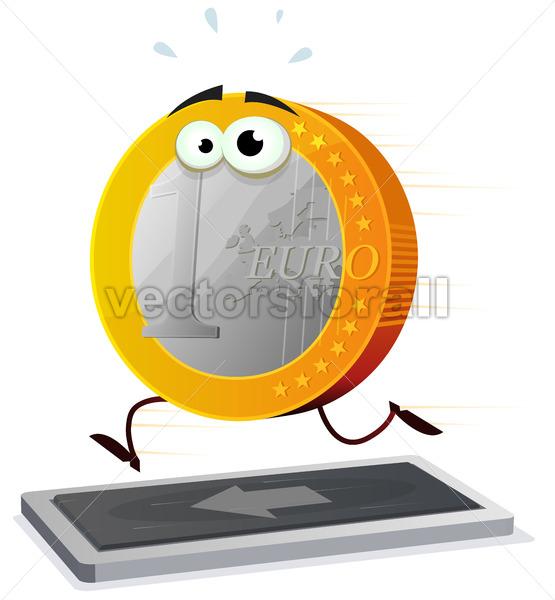 Cartoon Euro Running On A Treadmill - Vectorsforall
