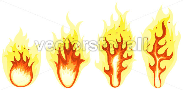 Cartoon Fire And Burning Flames Set - Vectorsforall