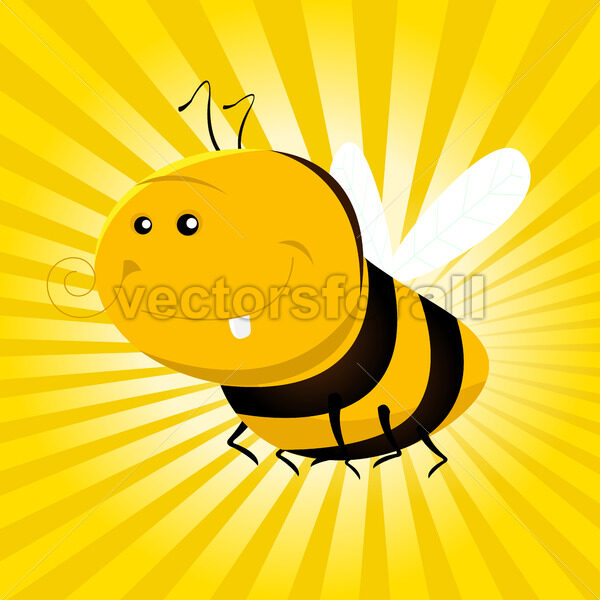 Cartoon Funny Bee - Vectorsforall