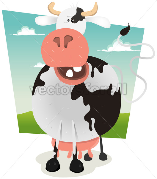 Cartoon Funny Cow - Benchart's Shop