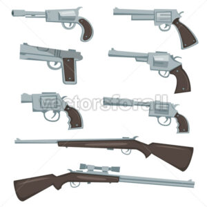Cartoon Guns, Revolver And Rifles Set - Vectorsforall