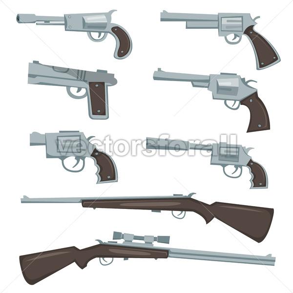 Cartoon Guns, Revolver And Rifles Set - Vectorsforall