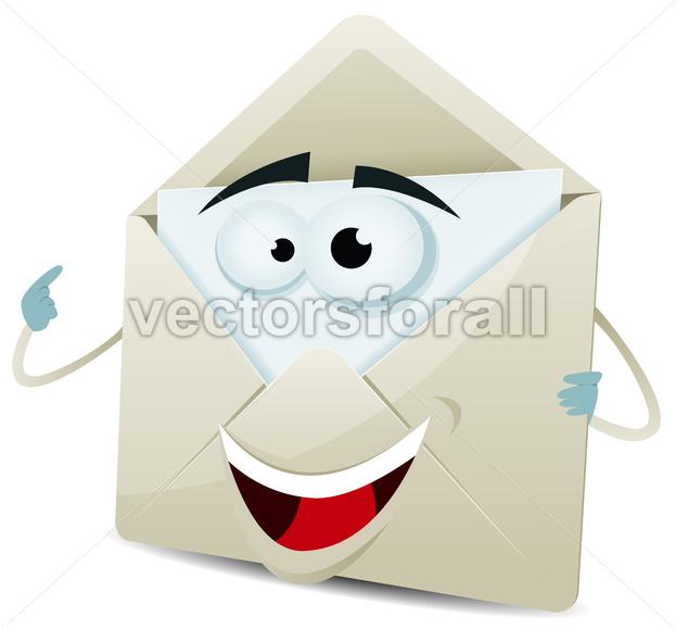 Cartoon Happy Email Character - Vectorsforall