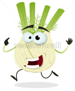 Cartoon Happy Fennel Character - Vectorsforall