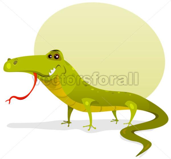Cartoon Happy Lizard - Vectorsforall