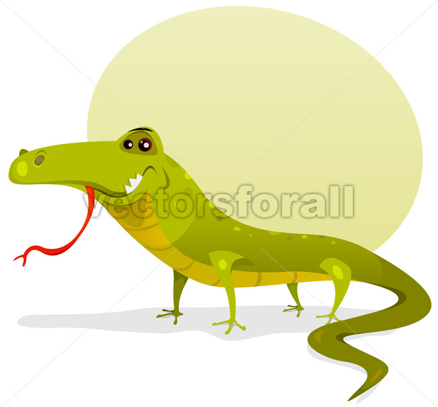 Cartoon Happy Lizard - Vectorsforall