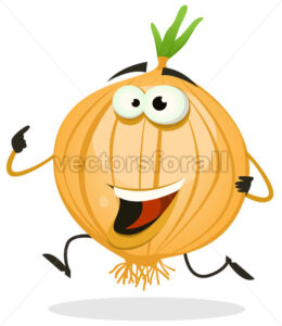 Cartoon Happy Onion Character - Vectorsforall