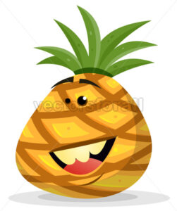 Cartoon Happy Pineapple Character - Vectorsforall