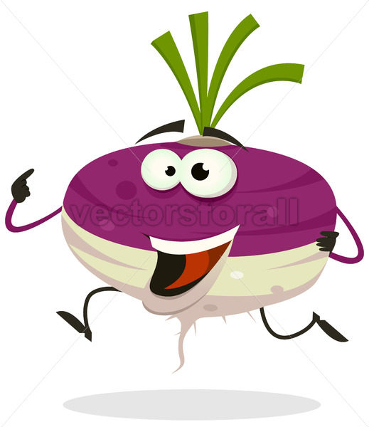 Cartoon Happy Turnip Character Running - Vectorsforall