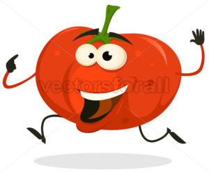 Cartoon Happy tomato Character Running - Vectorsforall