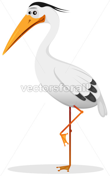 Cartoon Heron Bird - Vectorsforall