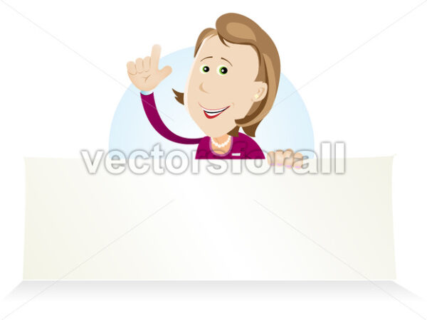 Cartoon Housewive Holding Ad Sign - Vectorsforall