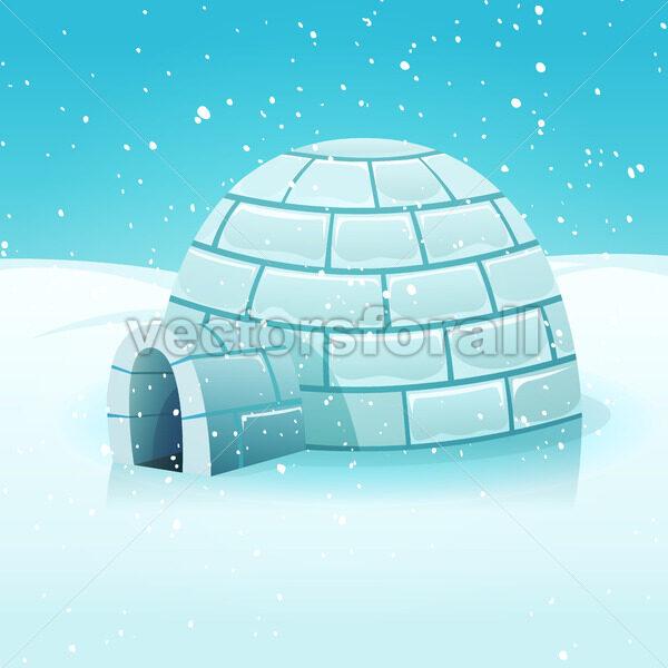 Cartoon Igloo In Polar Winter Landscape - Vectorsforall