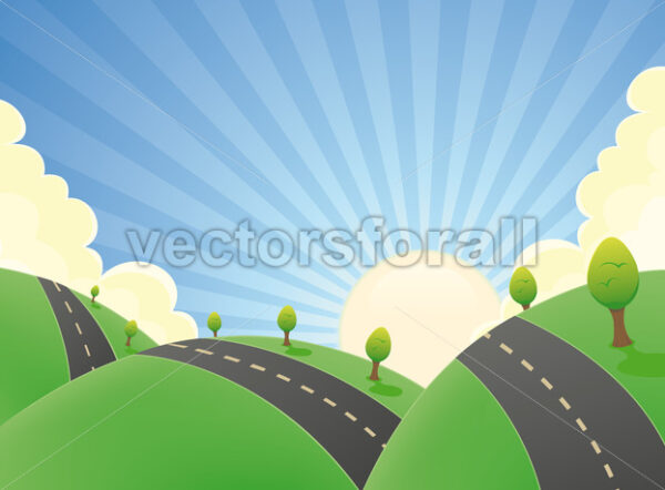 Cartoon Landscape Road In The Summer - Vectorsforall